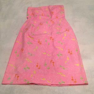 Lilly Pulitzer Strapless Dress Sandhill Crane